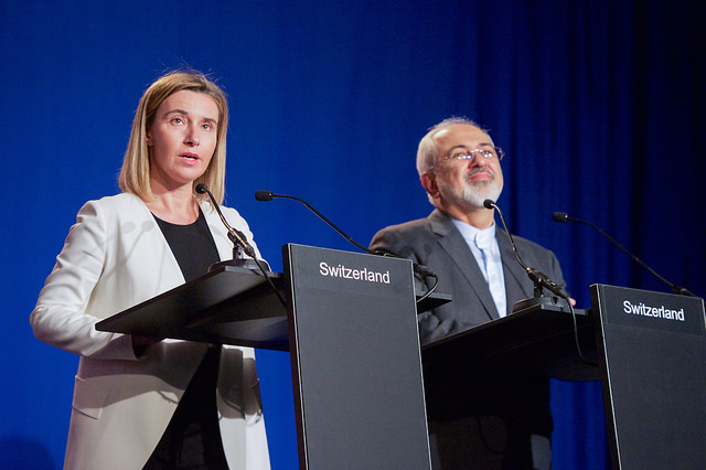 European Union High Representative for Foreign Affairs Federica Mogherini and Iranian Foreign Minister Javad Zarif addressed reporters following negotiations between the P5+1 member nations and Iranian officials about the future of their country's nuclear program at the École Polytechnique Fédérale de Lausanne in Switzerland on April 2, 2015. Credit: The U.S. Department of State.