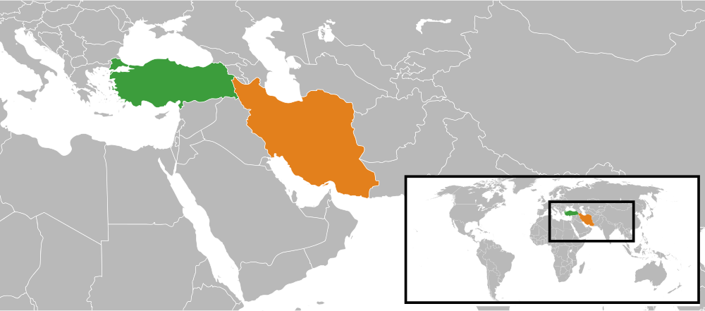 A map of the Middle East showing Turkey (green) and Iran (orange). The leaders of the two countries met on Tuesday in an effort to forge closer economic relations and downplay regional differences. Credit: Wikimedia Commons.