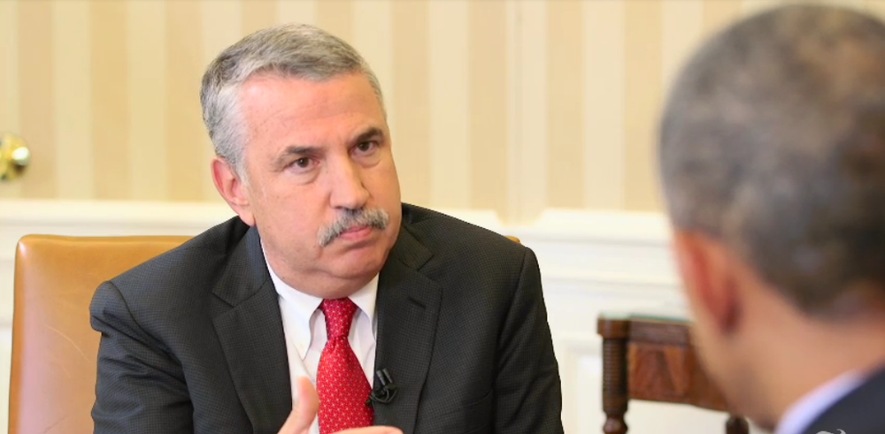 "Click photo to download. Caption: New York Times columnist Thomas Friedman (left) interviews President Barack Obama for Friedman's recently published op-ed, ""Iran and the Obama Doctrine."" Credit: Nytimes.com video screenshot."