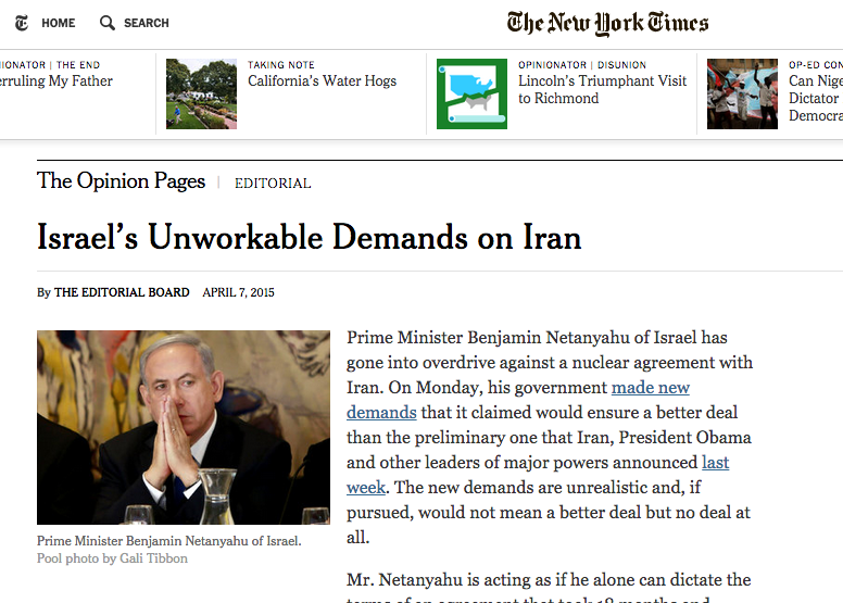 Tuesday's New York Times editorial on Israel's demands for a final nuclear deal with Iran. Credit: Nytimes.com screenshot.