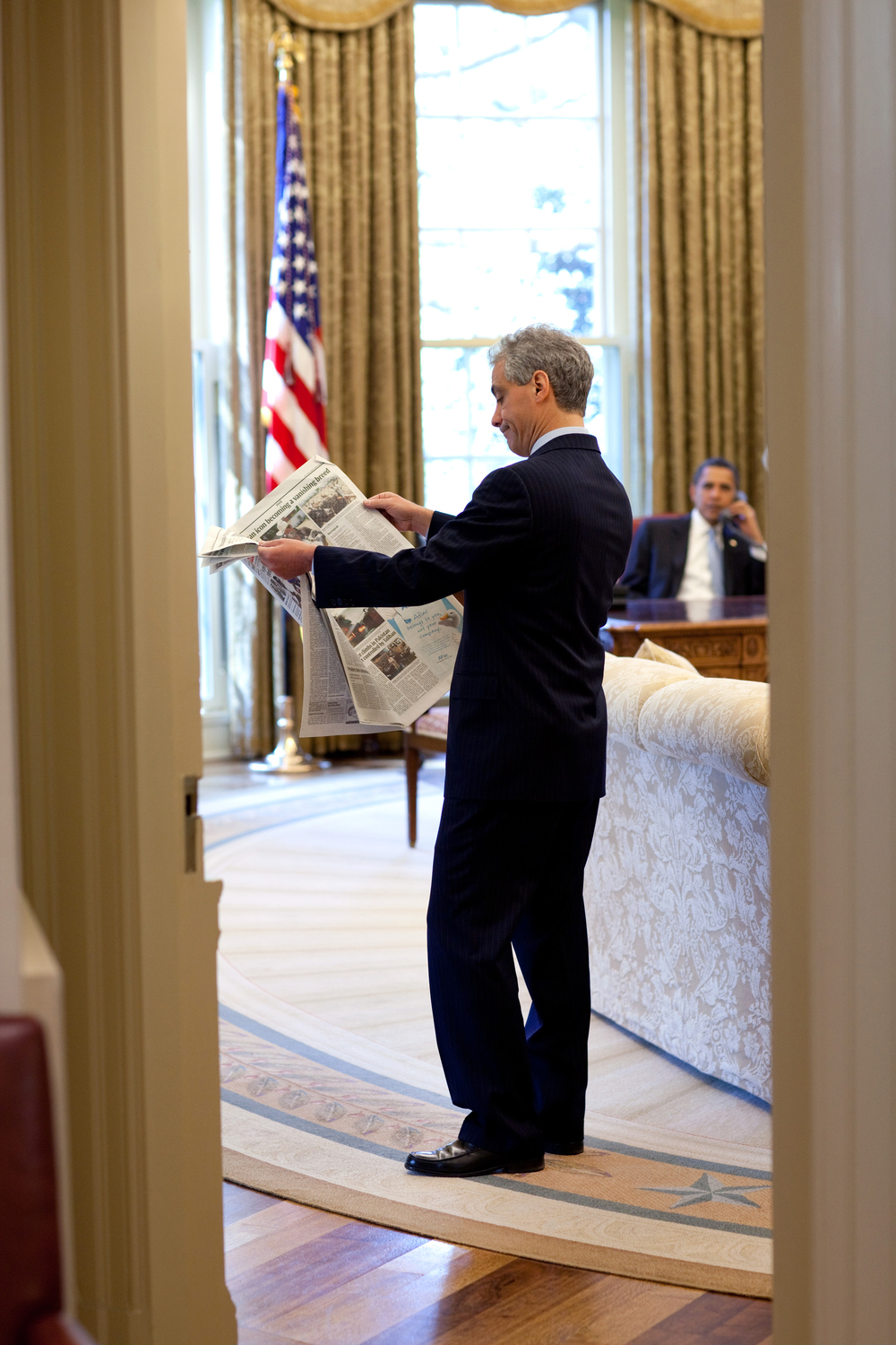 Rahm Emanuel with U.S. President Barack Obama in the Oval Office when Emanuel served as Obama's of staff in 2009. Credit: Official White House photo by Pete Souza.