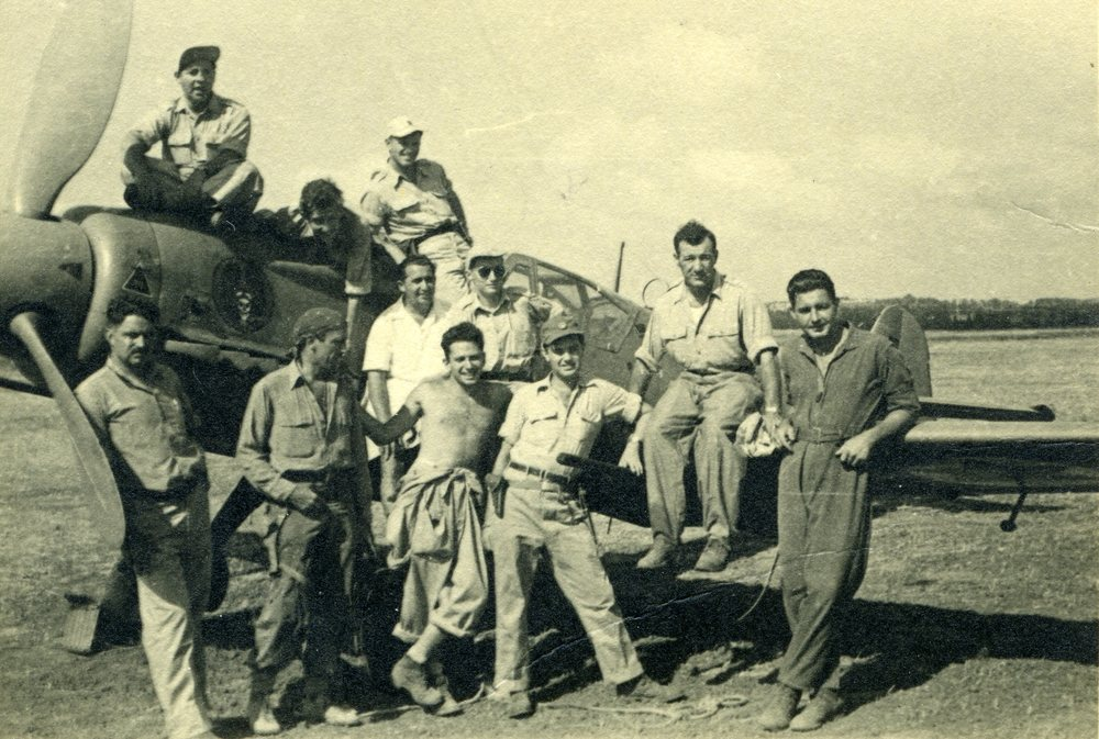 "Click photo to download. Caption: Pictured are American pilots who volunteered for Israel during the 1948 War of Independence. The pilots' story is documented is Nancy Spielberg's new film, ""Above and Beyond."" Credit: Above and Beyond."