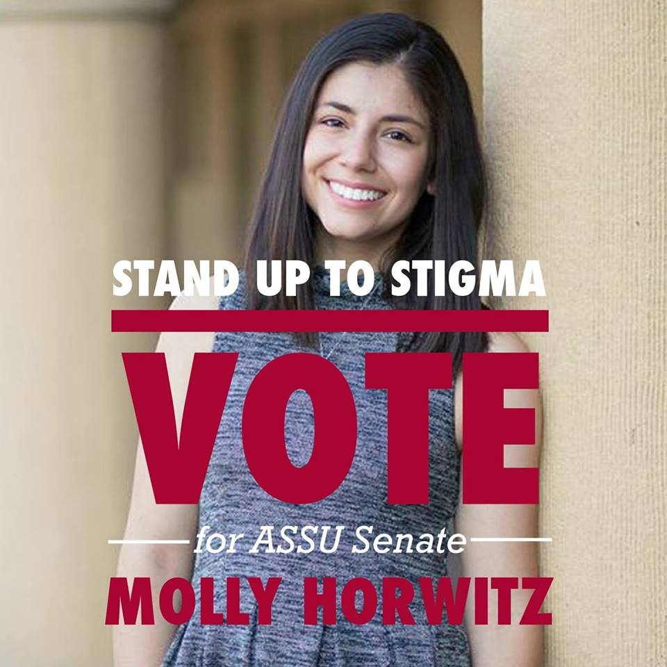 Click photo to download. Caption: A campaign poster for Molly Horwitz, a Jewish student running for Stanford University's student senate. Credit: Facebook.