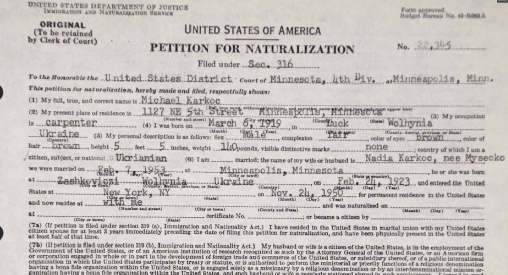 Michael Karkoc's Petition for Naturalization obtained via FOIA by the  Associated Press . Credit: Wikimedia Commons.