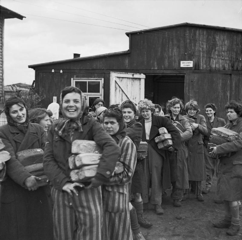 Click photo to download. Caption: Female survivors of the Bergen-Belsen concentration camp in April 1945. Credit: No 5 Army Film & Photographic Unit, Oakes, H (Sgt).