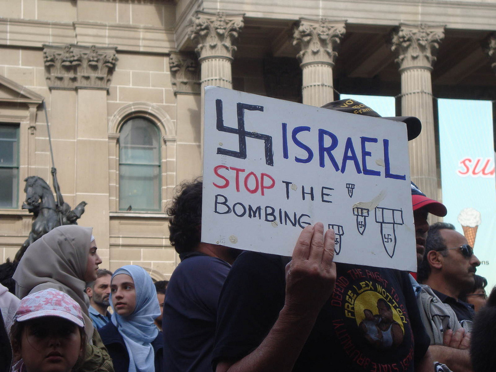 In the summer of 2014, many protesters around the world, particularly in Europe, who demonstrated against Operation Protective Edge in Gaza compared Israel to the Nazis, and expressed other negative sentiments specifically against Jews. Credit: Wikimedia Commons.