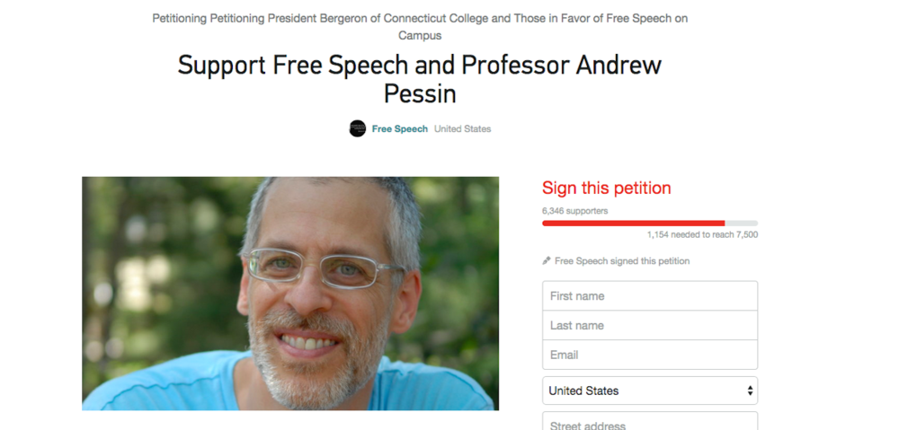 Click photo to download. Caption: A change.org petition on the free speech rights of Connecticut College philosophy professor Andrew Pessin. Credit: Screenshot of change.org.
