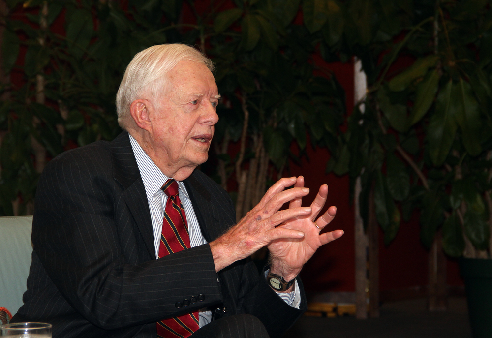Jimmy Carter in conversation at the LBJ Library on February 15, 2011. Credit: U.S. National Archives.