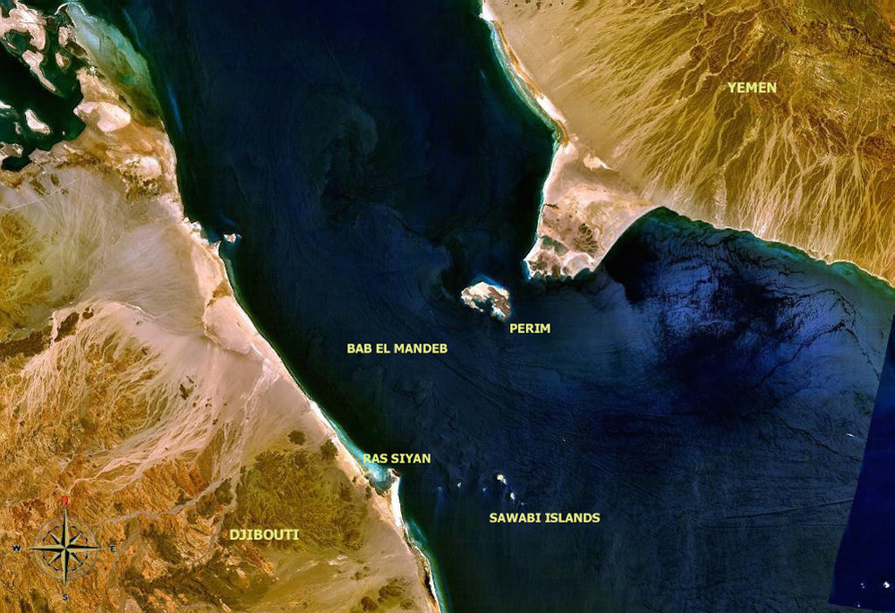 Click photo to download. Caption: Forty-percent of the world's oil ships pass through the Bab-el-Mandeb strait (pictured) in the southern part of the Red Sea, giving some idea of the global impact the conflict in Yemen could have. Credit: NASA.