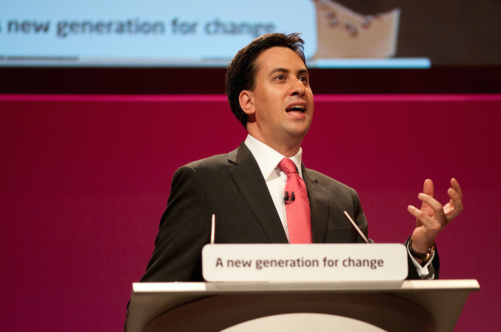 Click photo to download. Caption: Ahead of the British election, Labour Party leader Ed Miliband (pictured), who is Jewish, has drawn criticism from his own religious community for his party's support of a Palestinian state. Credit: Ed Miliband - Flickr via Wikimedia Commons.