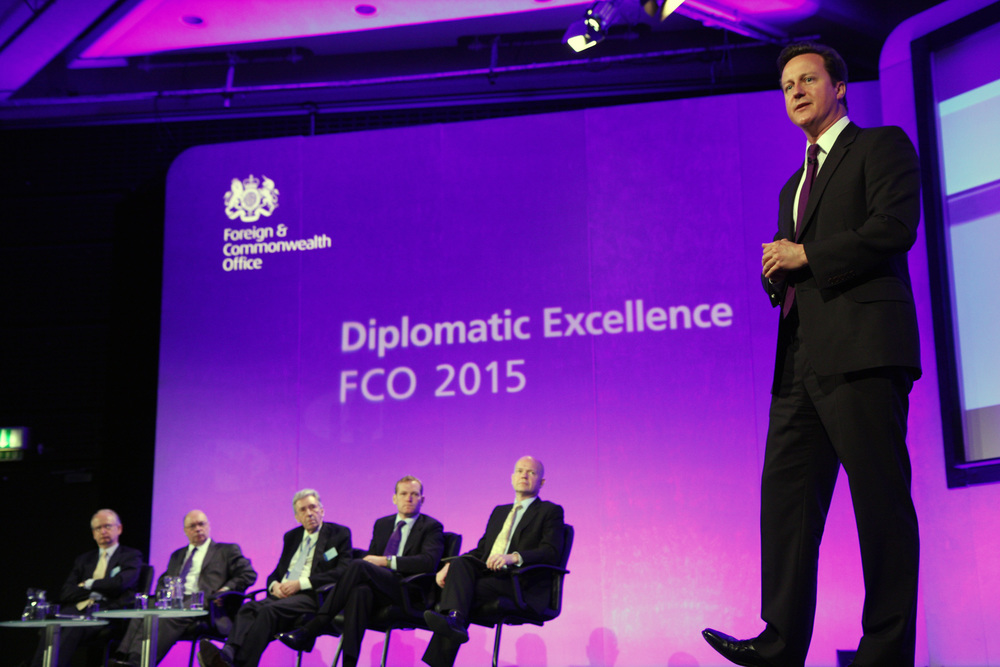 Click photo to download. Caption: British Prime Minister David Cameron (far right), leader of the Conservative Party, speaks at the FCO 2011 Leadership Conference in London in May 2011. Credit: Foreign and Commonwealth Office.
