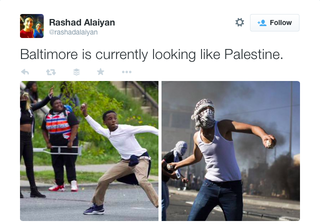 Activists are using images and text on Twitter to equate the Baltimore riots with the Palestinian cause. Credit: Wikimedia Commons.
