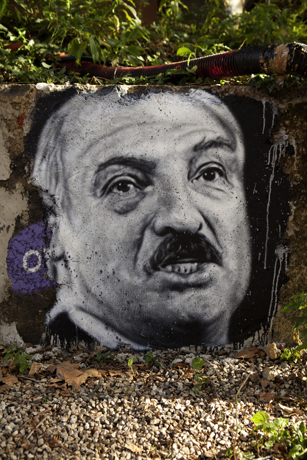 Graffiti ofBelarusian President Alexander Lukashenko. Credit: Thierry Ehrmann via Wikimedia Commons.