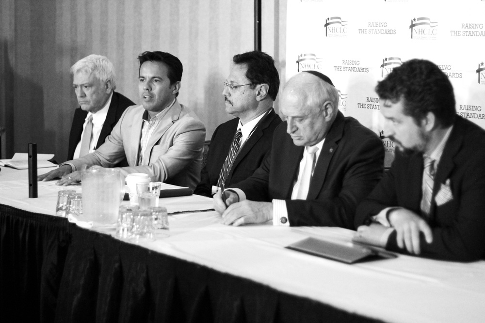 Click photo to download. Caption: From left to right, A. Larry Ross, president of A. Larry Ross Communications; Rev. Samuel Rodriguez, president of the National Hispanic Christian Leadership Conference (NHCLC)/CONEL; Pastor Mario Bramnick, president of the Hispanic Israel Leadership Coalition (HILC); Malcolm Hoenlien, executive vice chairman of Conference of Presidents of Major American Jewish Organizations; and Luke Moon, deputy director of the Philos Project. The pictured press conference at the NHCLC/CONEL convention in Houston launched HILC, an initiative seeking to rally support for Israel among Hispanic Evangelicals. Credit: Carlos Campos.