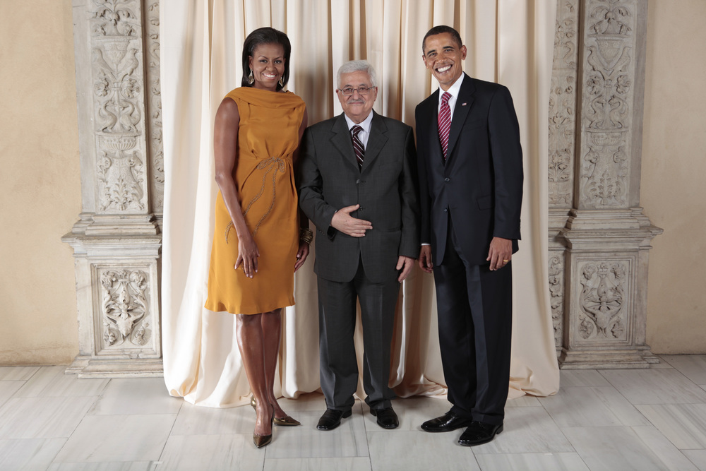 Click photo to download. Caption: From left to right, First Lady Michelle Obama, U.S. President Barack Obama, and Palestinian Authority President Mahmoud Abbas. Columnist Stephen M. Flatow contrasts President Obama's reaction to the Bill Ayers controversy with how Abbas's government recently honored three Arab terrorists. Credit: White House photo by Lawrence Jackson.