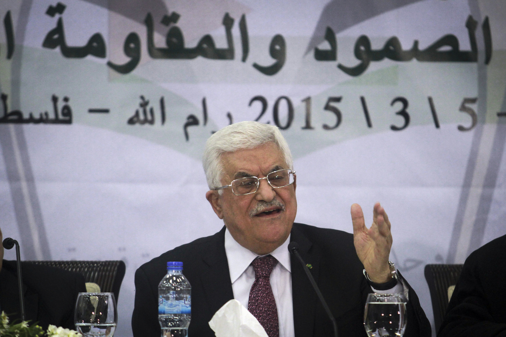 Click photo to download. Caption: On March 4, 2015, Palestinian Authority President Mahmoud Abbas speaks during a meeting of the Central Council of the Palestinian Liberation Organization at Abbas's office in the West Bank city of Ramallah. Credit: STR/Flash90.