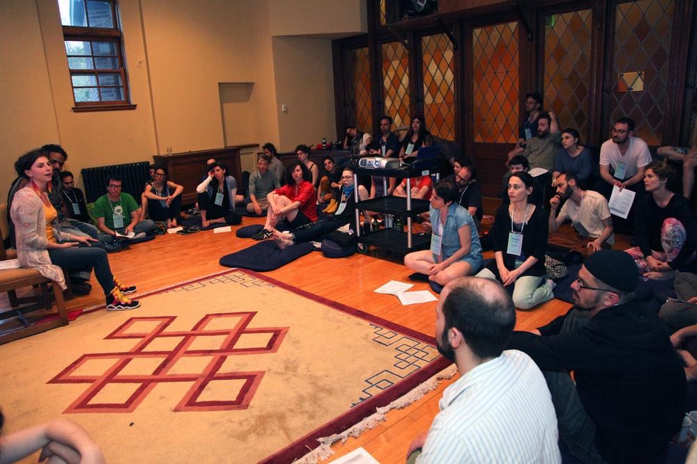 Participants convene at the recent Asylum Arts International Jewish Artist Retreat. Credit: Shulamit Seidler-Feller.