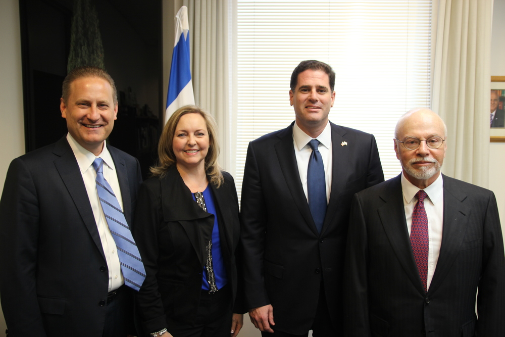 From left to right: Steve Green, Jackie Green, Israeli Ambassador to the U.S. Ron Dermer, and Paul Singer at the launching of the new Covenant Journey program, in Washington, DC on Thursday. Credit: Embassy of Israel.