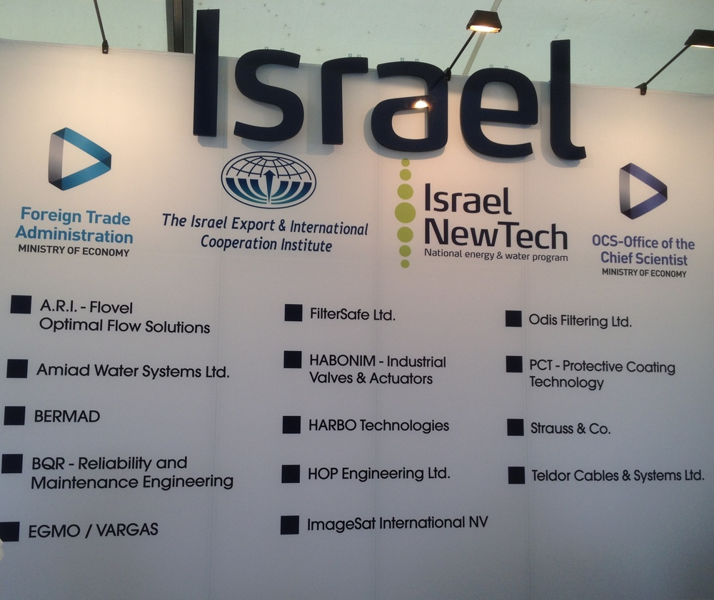 Click photo to download. Caption: A list of the 14 Israeli companies that had a presence at the Offshore Technology Conference in Houston from May 4-7. Credit: Jacob Kamaras.