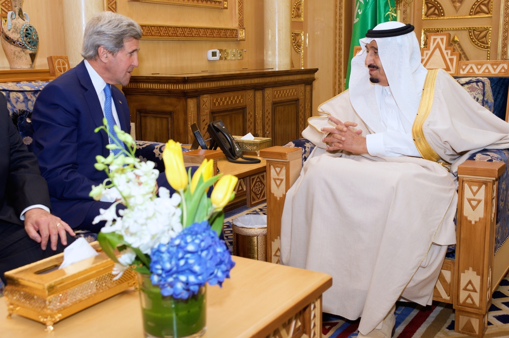 Click photo to download. Caption: Saudi Arabia's King Salman (right), pictured here meeting with U.S. Secretary of State John Kerry in the Saudi capital of Riyadh in March, will not be attending the White House's May 14 summit with Gulf Arab leaders. Credit: U.S. Department of State.