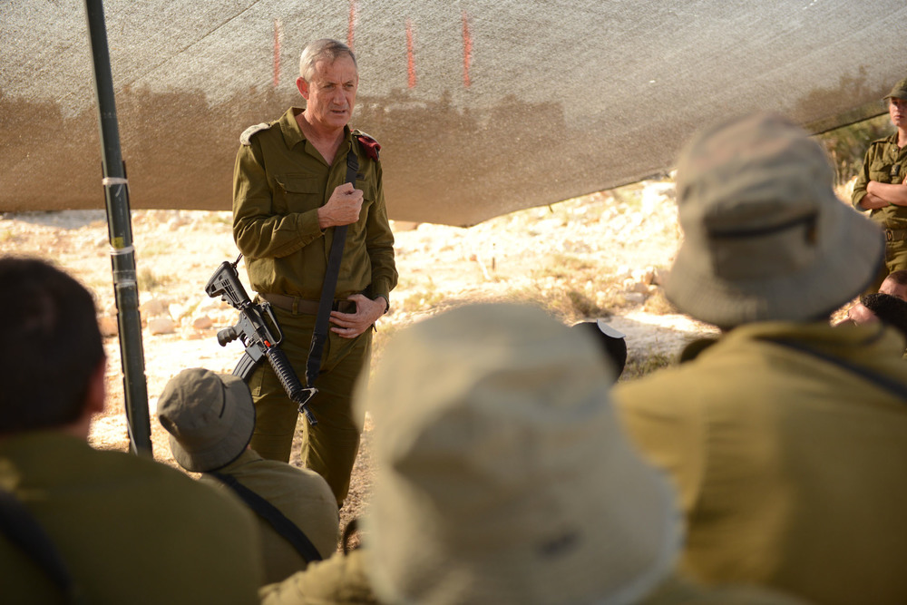 Click photo to download. Caption: Former IDF chief of staff Benny Gantz speaks to Israeli soldiers during Operation Brother's Keeper, the June 2014 search for three Jewish teenagers who were kidnapped and murdered by Hamas. Credit: Israel Defense Forces.