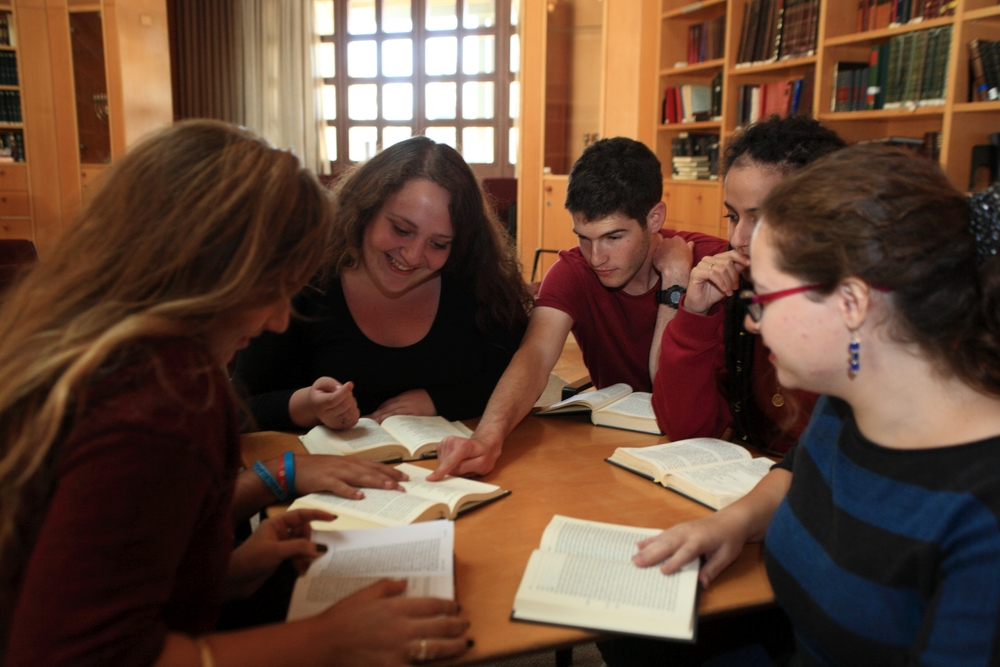 Click photo to download. Caption: Hevruta program participants engage in Jewish learning. Credit: Courtesy of the Shalom Hartman Institute.