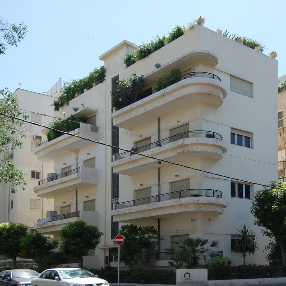 "Bauhaus architecture in Tel Aviv's ""White City."" Credit: Wikimedia Commons."
