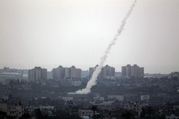 A rocket being fired from the Gaza Strip. Credit: Twitter.