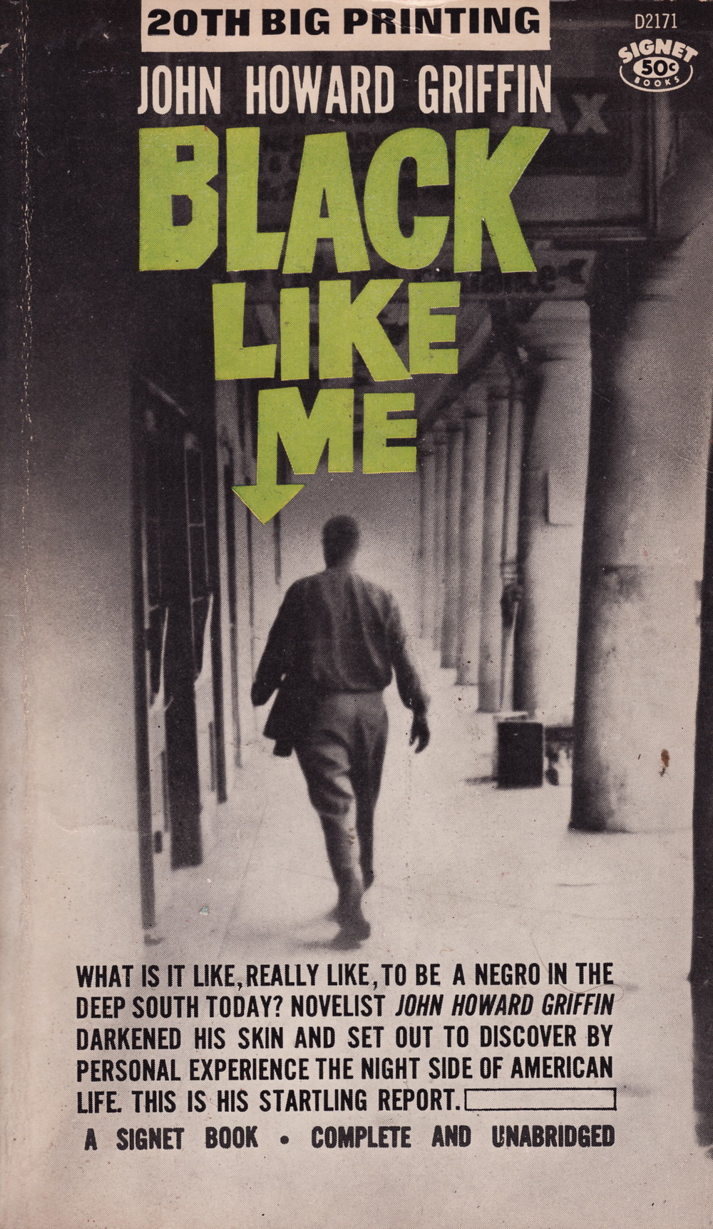 "Click photo to download. Caption: The cover of John Howard Griffin's ""Black Like Me."" Credit: Signet."