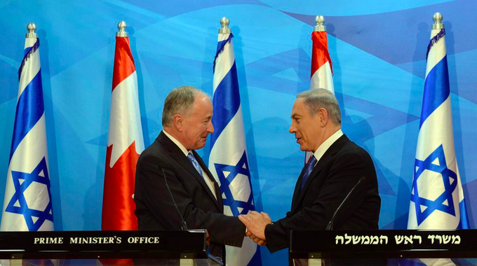 Canadian Foreign Minister Robert Nicholson and Israeli Prime Minister Benjamin Netanyahu meet in Jerusalem on Wednesday. Credit: Israeli Prime Minister's Office.