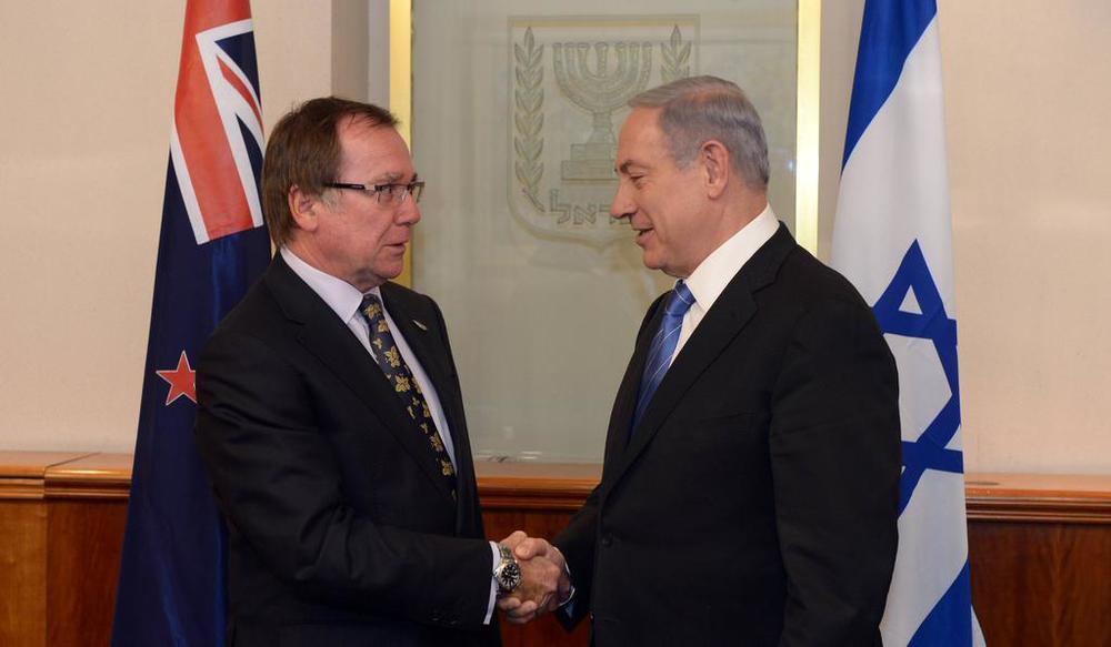 New Zealand Foreign Minister Murray McCully (left) meets with Israeli Prime Minister Benjamin Netanyahu in Jerusalem on Wednesday. Credit: Israeli Prime Minister's Office.