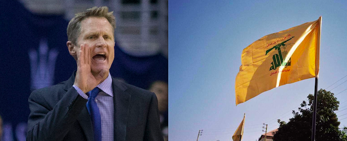 In 1984, the Lebanese predecessor of the Hezbollah terrorist group (flag pictured at right) assassinated the father of Golden State Warriors head coach Steve Kerr (pictured at left). Credit: Wikimedia Commons.