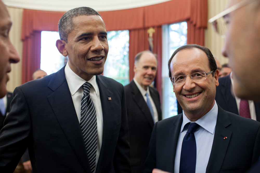 Click photo to download. Caption: U.S. President Barack Obama (left) and French President François Hollande in the White House on May 18, 2012. Credit: Pete Souza/White House photo.