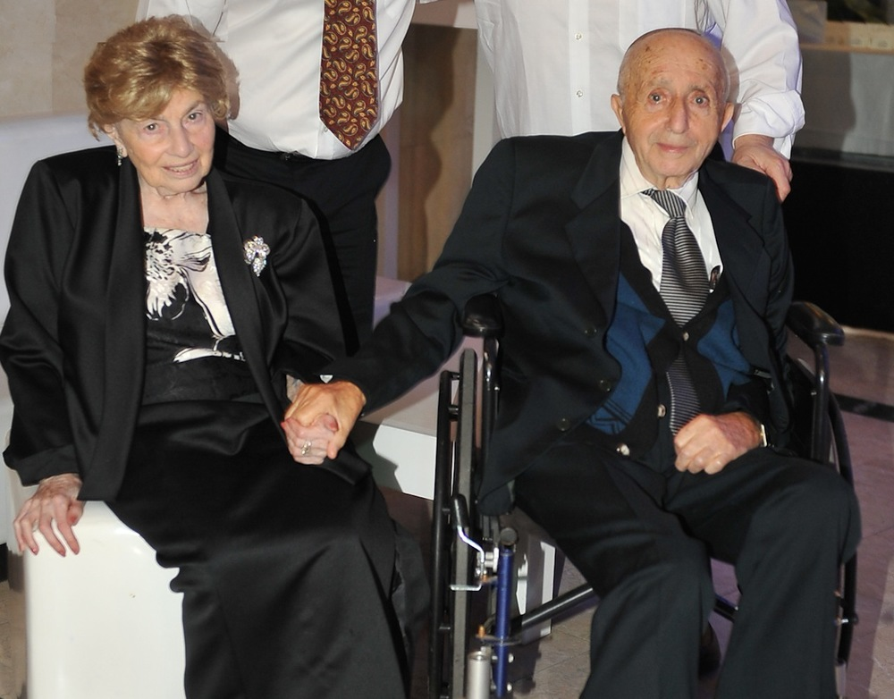 Click photo to download. Caption: Edith Sykora (left), a Hungarian-bornAuschwitz survivor, made aliyah nine years ago with her now-deceased husband Joel (right). Credit: Courtesy Edith Sykora.