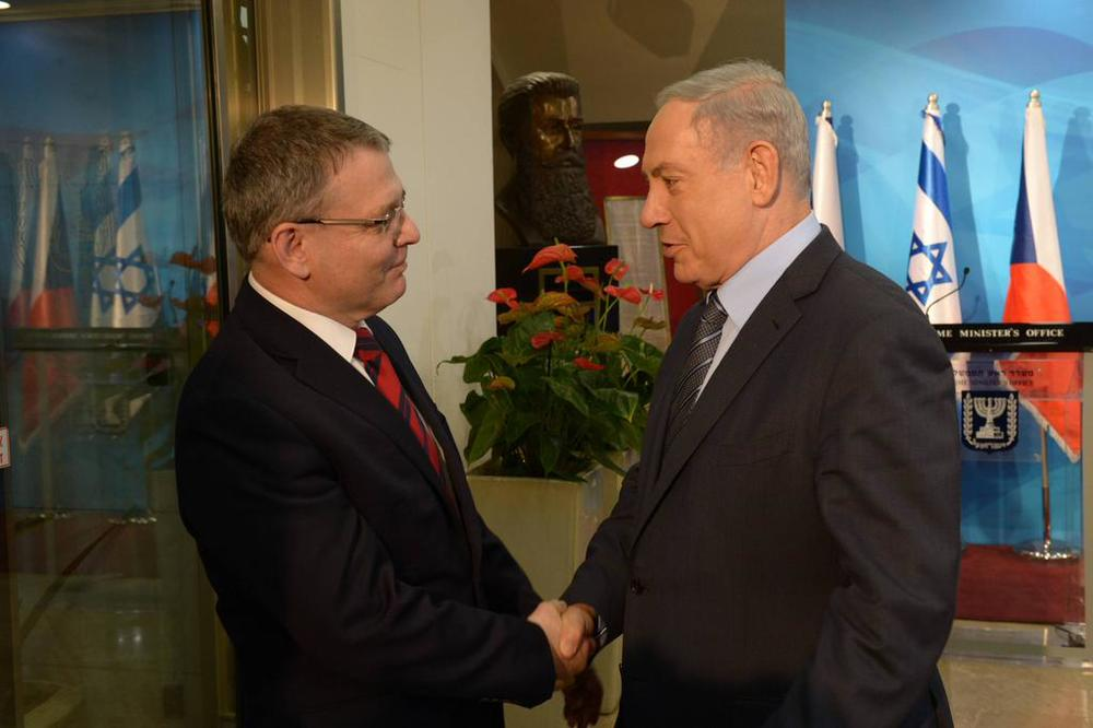 Czech Republic Foreign Minister Lubomir Zaoralek (left) with Israel Prime Minister Benjamin Netanyahu on Monday in Jerusalem. Credit: Israeli Prime Minister's Office.