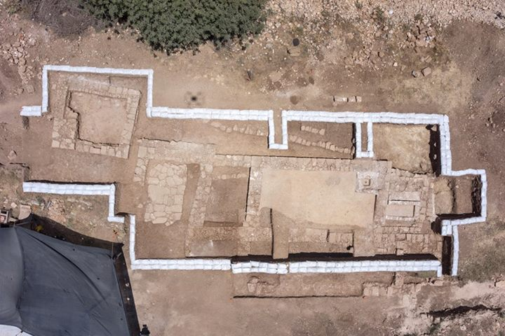 The Byzantine-era road station and church unearthed along a highway from Tel Aviv to Jerusalem. Credit: Israel Antiquities Authority via Facebook.