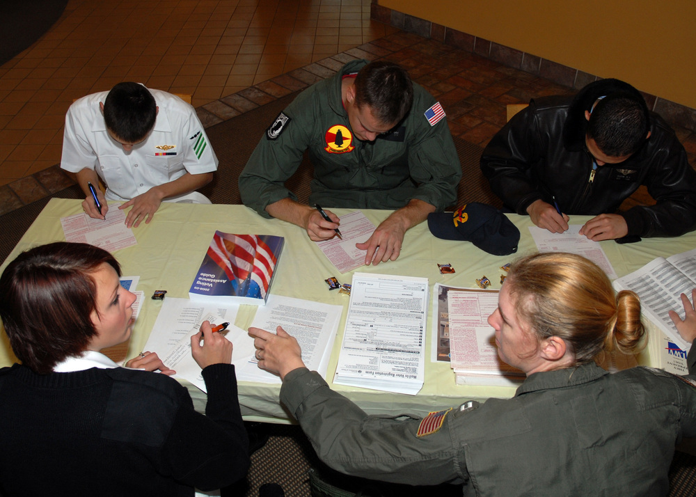 Click photo to download. Caption: Members of the U.S. Navy register to vote in American elections in Oak Harbor, Wash., on Sept. 4, 2008. While more than 80 percent of eligible Jewish voters participate in American presidential elections, less than 1 percent voted in the recent nationwide election among American Jews for delegates to the World Zionist Congress. Credit: U.S. Navy Photo by Mass Communication Specialist 2nd Class Tucker M. Yates/Released.