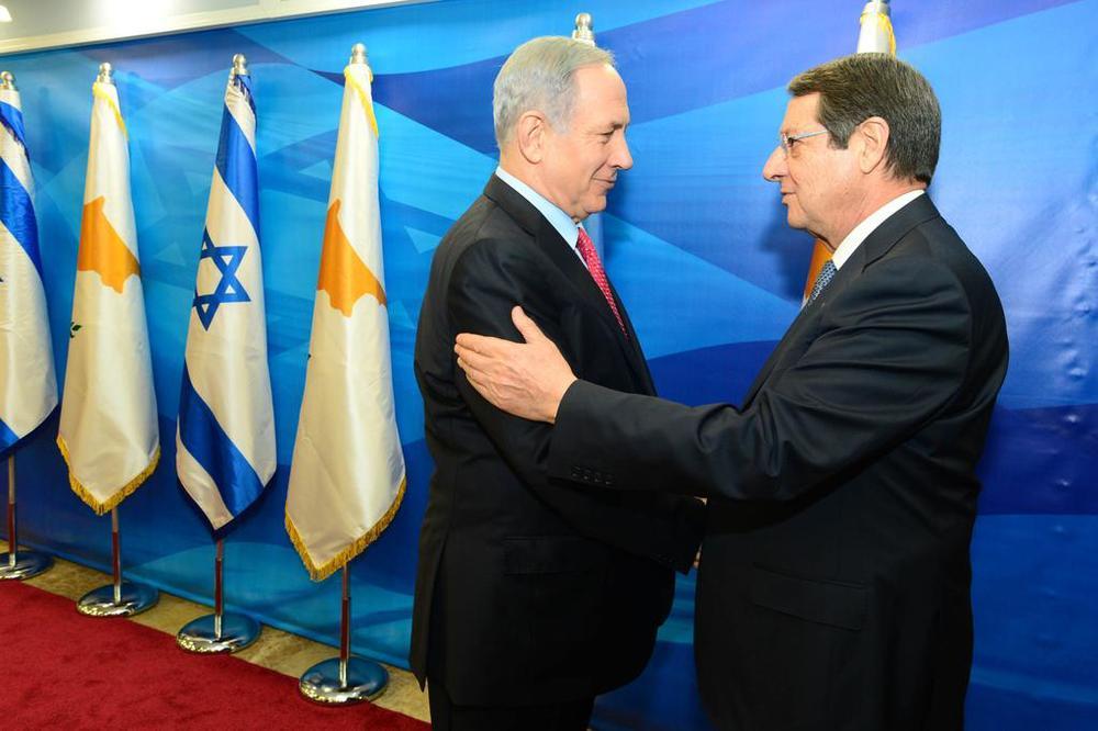 Israeli Prime Minister Benjamin Netanyahu and Cypriot President Nicos Anastasiades meet in Jerusalem. Credit: Israeli Prime Minister's Office via Twitter.