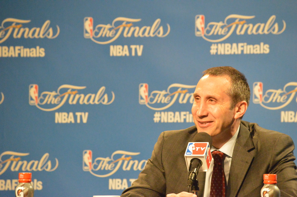 Click photo to download. Caption: Cleveland Cavaliers coach David Blatt addresses the media after his team lost Game 6 of the NBA Finals on Tuesday night. Credit: Bob Jacob/Cleveland Jewish News.