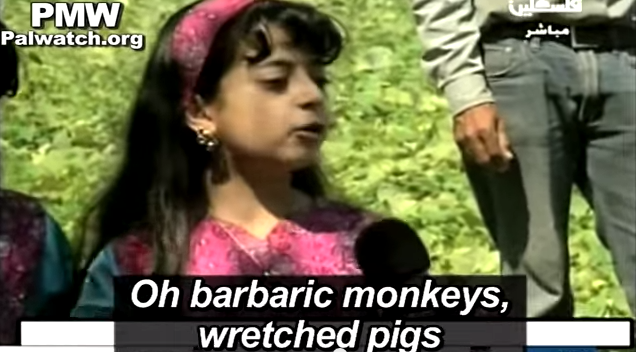"Click photo to download. Caption: A young Palestinian girl calls Jews ""barbaric monkeys, wretched pigs"" on Palestinian Authority TV. Credit: Palestinian Media Watch."