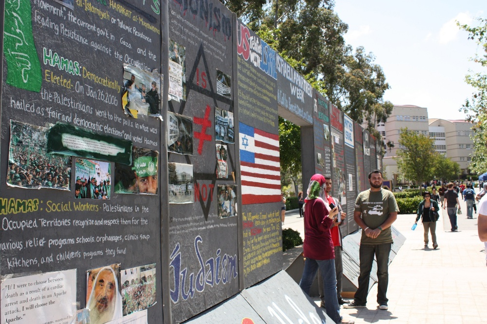 "Click photo to download. Caption: ""Israeli Apartheid Week"" in May 2010 on the University of California, Irvine campus. Definitions are especially important for contemporary anti-Semitsm because confusion surrounds the relationship between Jew-hatred and animosity towards Israel, writes Kenneth L. Marcus. Credit: AMCHA Initiative."
