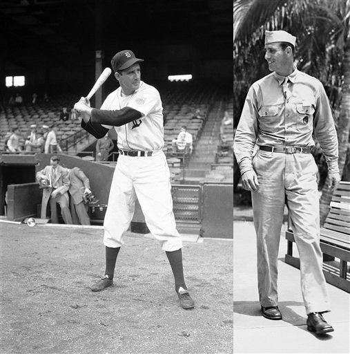 Click photo to download. Caption: Hank Greenberg in his baseball (left) and military uniforms. Credit: Provided photo.