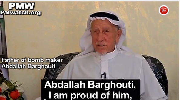 The father of incarcerated terrorist Abdallah Barghouti called his son a hero on Palestinian television. Credit: Wikimedia Commons.