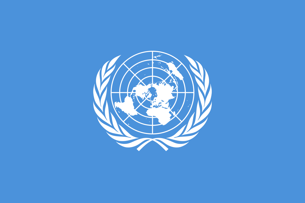 The flag of the UN. Credit: Wikimedia Commons.