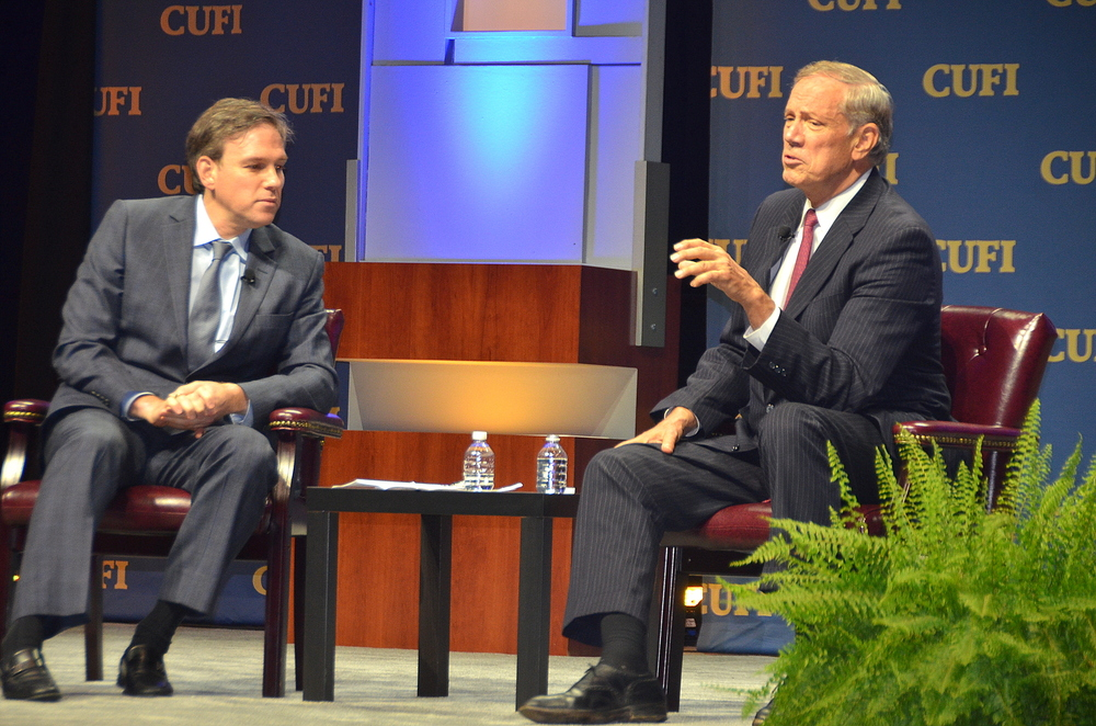 Click photo to download. Caption: On Monday, Republican presidential candidate and former New York governor George Pataki (right) gives an interview with Bret Stephens of the Wall Street Journal on stage at the Christians United for Israel Washington Summit. Credit: Maxine Dovere.