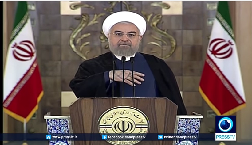 Iranian President Hassan Rouhani addressing the Iranian people about the nuclear deal on state television. Credit: YouTube screenshot.