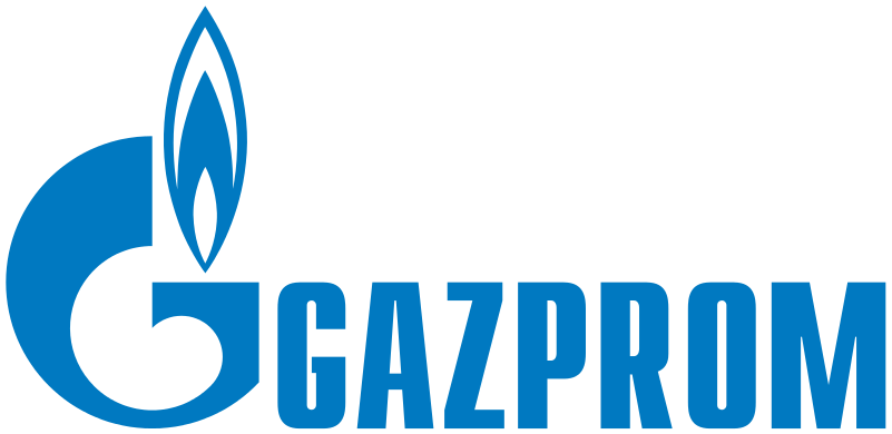 The logo of the Russian energy giant Gazprom. Credit: Wikimedia Commons.