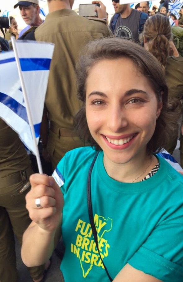 Click photo to download. Caption: Eliana Rudee upon arriving in Israel as a new immigrant. Credit: Courtesy Eliana Rudee.