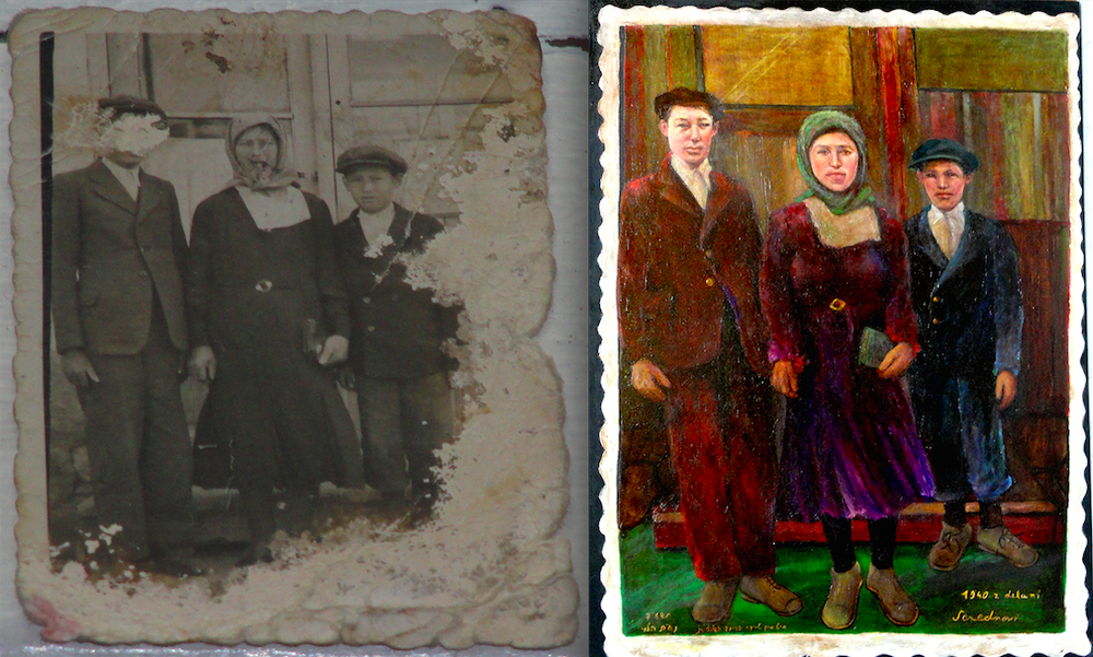 Click photo to download. Caption: The face of Herman (at left in both photos), the brother of Nathan Moskowitz's father, was forensically and artistically reconstructed in a family painting (the photo at right) that was entered as evidence in the Oskar Groening trial. Credit: Courtesy Nathan Moskowitz.