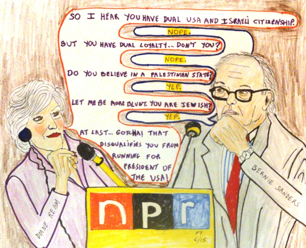 "Click photo to download. Caption: A cartoon on the recent incident in which NPR host Diane Rehm incorrectly stated that Sen. Bernie Sanders has ""dual citizenship with Israel. Credit: FeinTooner."